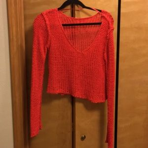 Red cropped crochet sweater